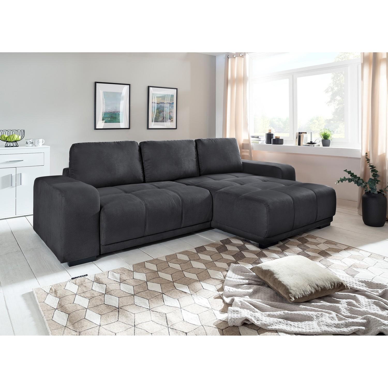 home24 Fredriks Ecksofa Albia Grau Webstoff 270x66x166 cm mit Schlaffunktion und Bettkasten