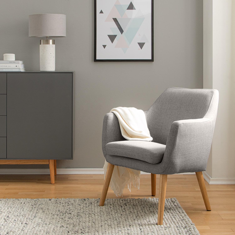 home24 Mørteens Sessel Nicholas Hellgrau Webstoff 66x80x68 cm (BxHxT)
