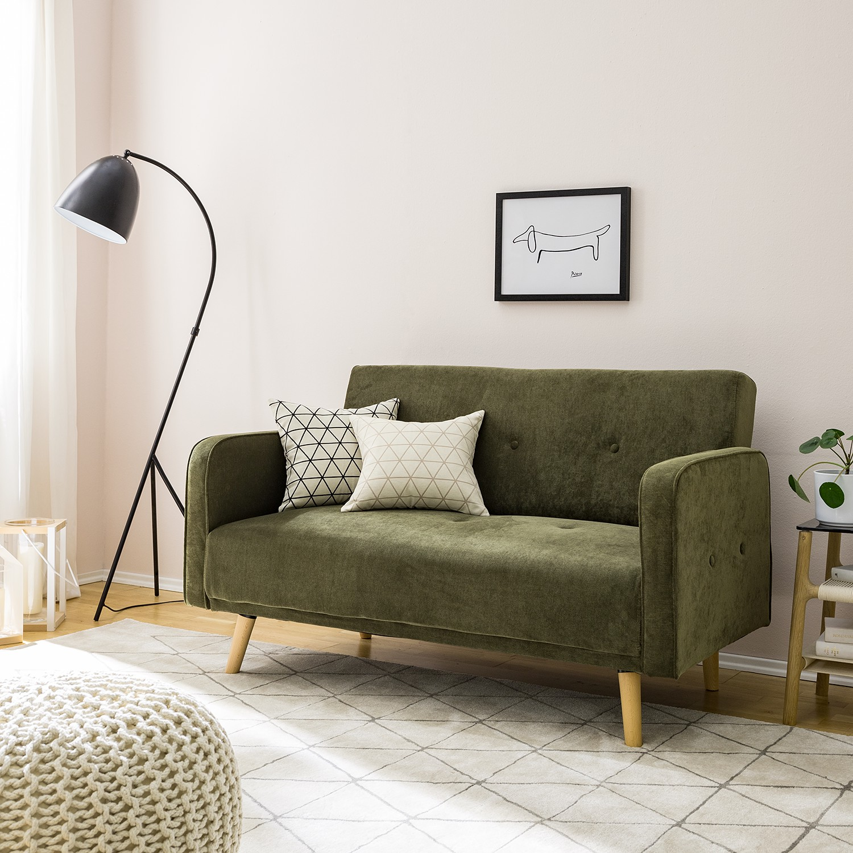 home24 Sofa Daru I 2-Sitzer Olivgrün Microfaser 131x81x81 cm