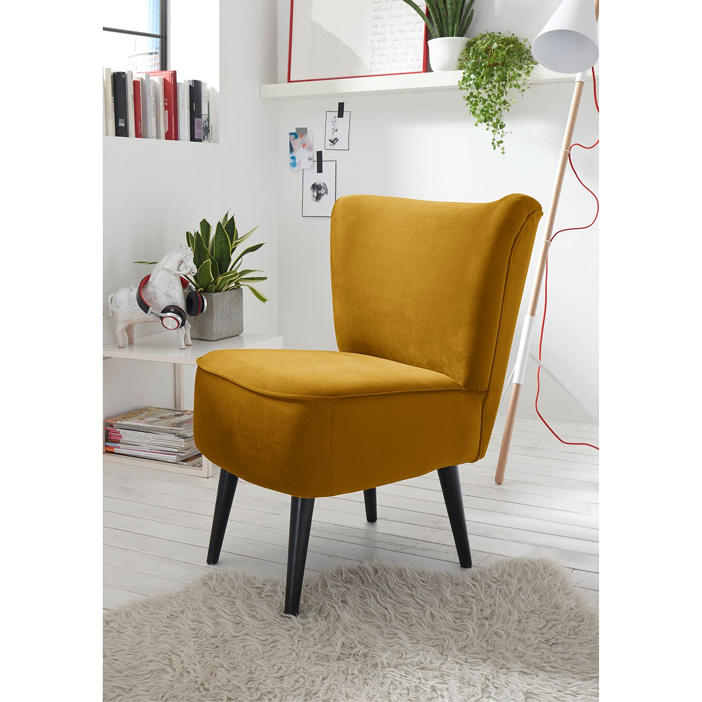 home24 Mørteens Sessel Santa Rita Senfgelb Samt 65x82x73 cm (BxHxT)