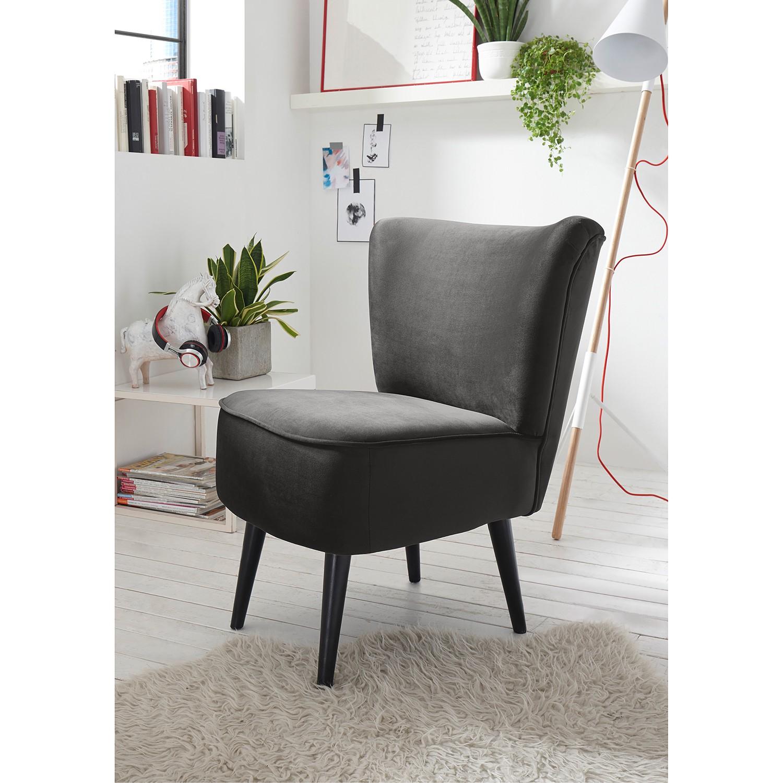 home24 Mørteens Sessel Santa Rita Grau Samt 65x82x73 cm (BxHxT)