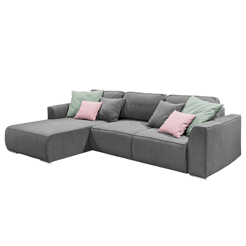home24 loftscape Ecksofa Tupiza Grau Strukturstoff 294x90x206 cm mit Schlaffunktion und Bettkasten