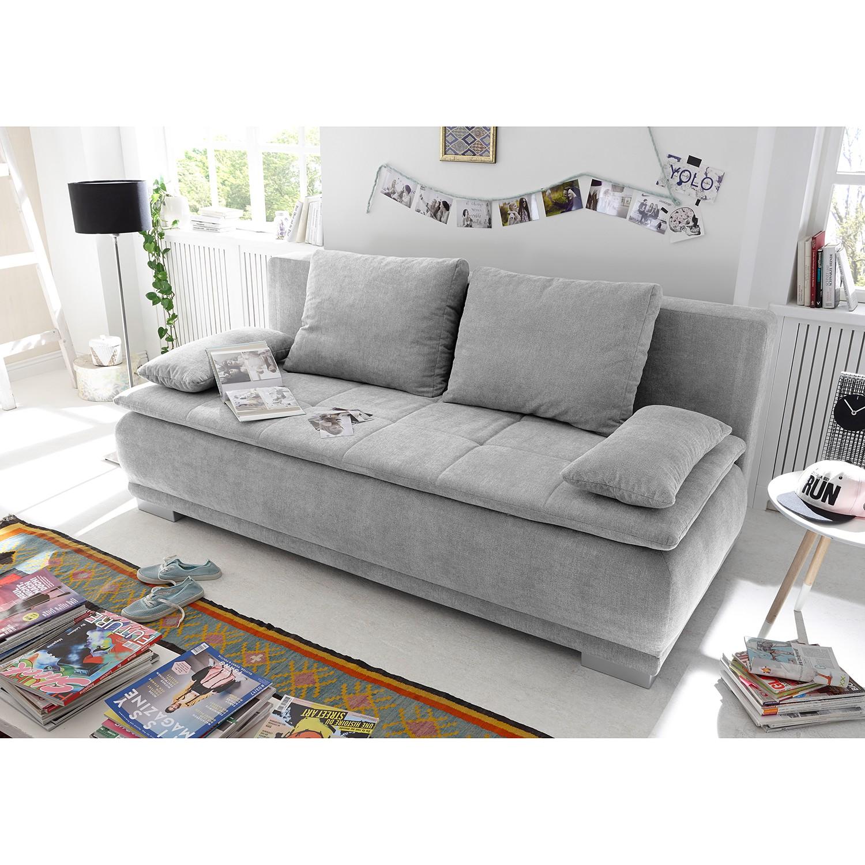 home24 Fredriks Schlafsofa Collana Granit Webstoff 208x93x105 cm mit Schlaffunktion und Bettkasten
