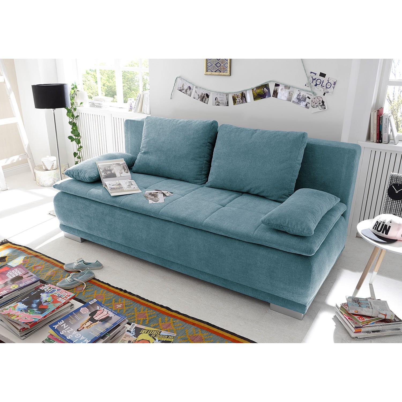 home24 Fredriks Schlafsofa Collana Blaugrau Webstoff 208x93x105 cm mit Schlaffunktion und Bettkasten