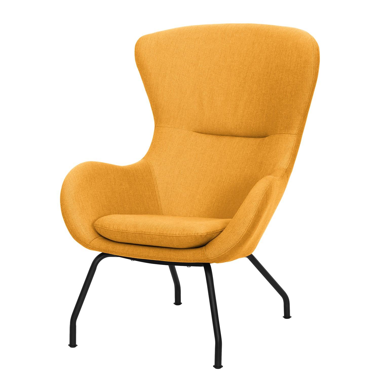 home24 Mørteens Sessel Levan Gold Webstoff 75x85x103 cm (BxHxT)