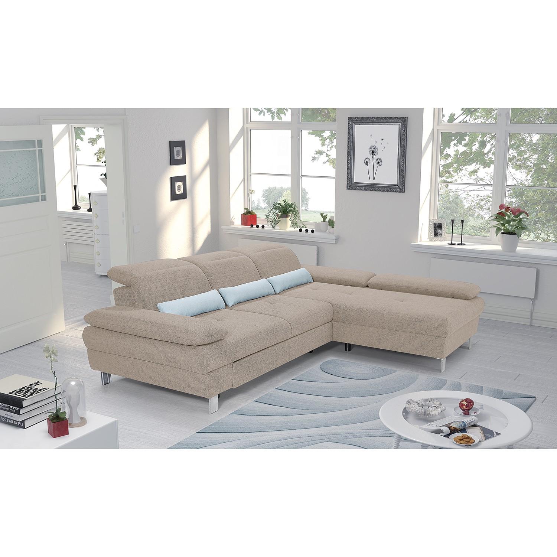 home24 loftscape Ecksofa Granada Beige Strukturstoff 286x81x216 cm mit Schlaffunktion und Bettkasten
