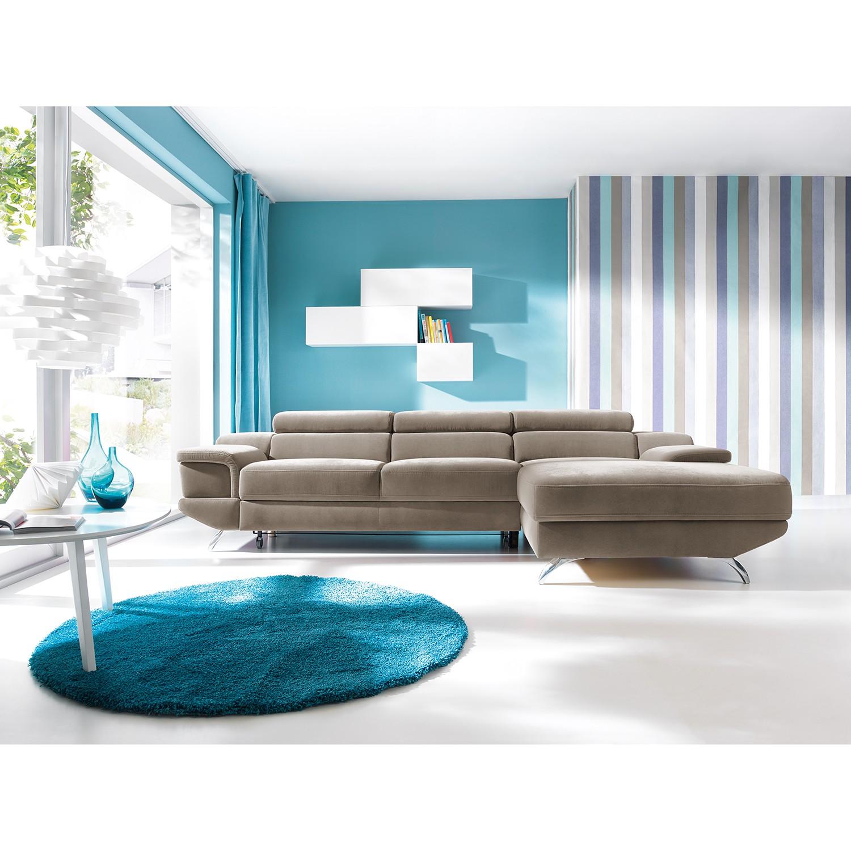 home24 loftscape Ecksofa Morelia I Cappuccino Microfaser 285x72x218 cm mit Schlaffunktion und Bettkasten