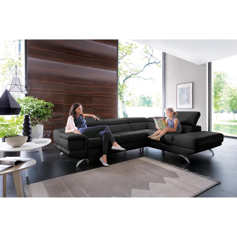 home24 loftscape Ecksofa Morelia II Schwarz Echtleder 285x72x218 cm mit Schlaffunktion und Bettkasten