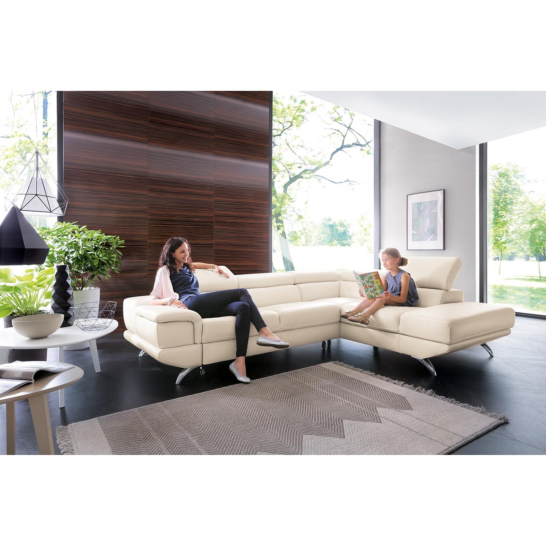 home24 loftscape Ecksofa Morelia II Weiß Echtleder 285x72x218 cm mit Schlaffunktion und Bettkasten
