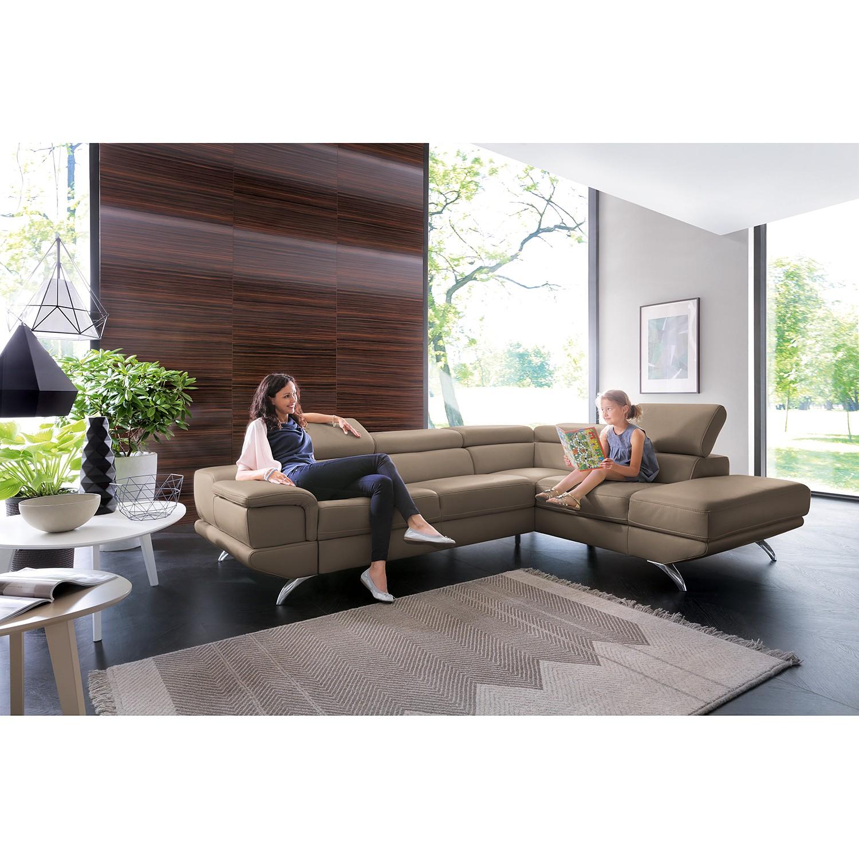 home24 loftscape Ecksofa Morelia II Schlamm Echtleder 285x72x218 cm