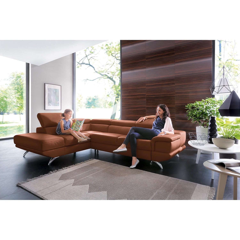 home24 loftscape Ecksofa Morelia II Rehbraun Echtleder 285x72x218 cm mit Schlaffunktion und Bettkasten