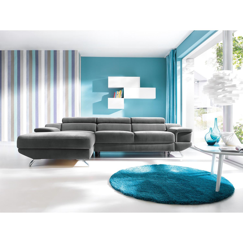 home24 loftscape Ecksofa Morelia III Grau Microfaser 283x72x175 cm mit Schlaffunktion und Bettkasten