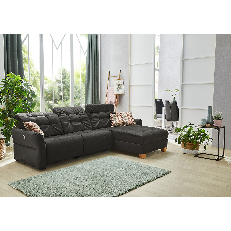 home24 Fredriks Ecksofa Tepic Dunkelbraun 100% Polyester 279x98x195 cm (BxHxT)