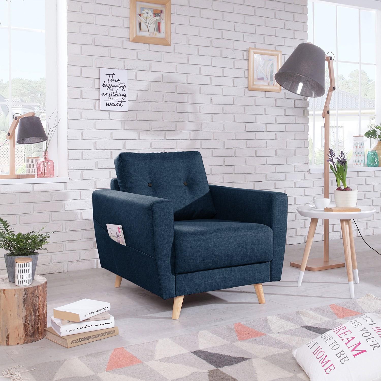 home24 Mørteens Sessel Sola Jeansblau Webstoff 79x90x90 cm (BxHxT)
