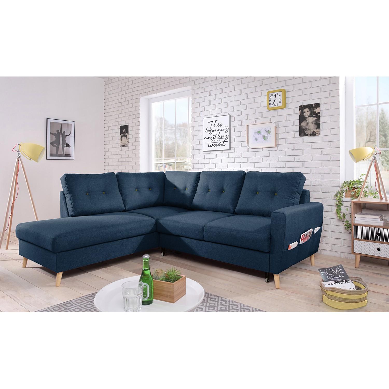 home24 Mørteens Ecksofa Sola II Jeansblau Webstoff 230x90x198 cm mit Schlaffunktion