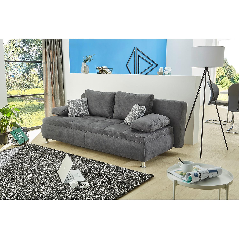 home24 Fredriks Schlafsofa Sutton Grau Microfaser 204x82x100 cm mit Schlaffunktion und Bettkasten