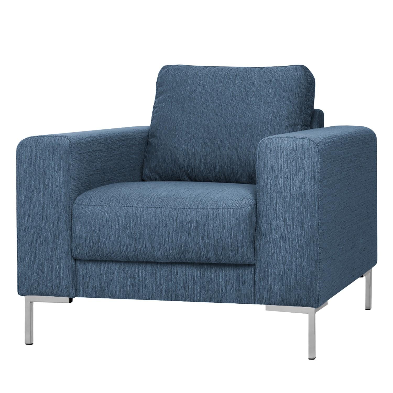 home24 Fredriks Sessel Summer I Jeansblau Strukturstoff 95x90x90 cm (BxHxT)