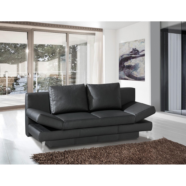 home24 loftscape Schlafsofa Salen II Schwarz Echtleder 200x85x90 cm mit Schlaffunktion