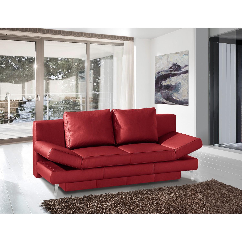 home24 loftscape Schlafsofa Salen II Rot Echtleder 200x85x90 cm mit Schlaffunktion