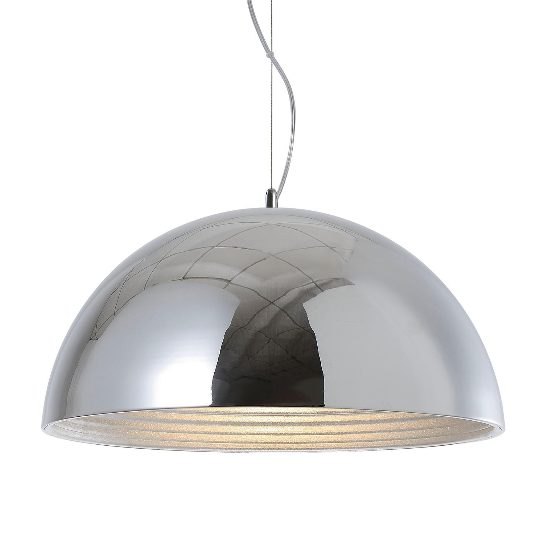 home24 Spot Light Pendelleuchte Mads Stahl Silber Ø 50 cm 1-flammig E27