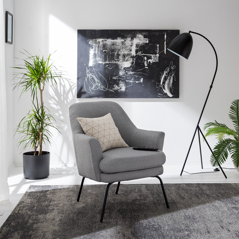 home24 Mørteens Sessel Huntly I Platin Webstoff 74x83x73 cm (BxHxT)