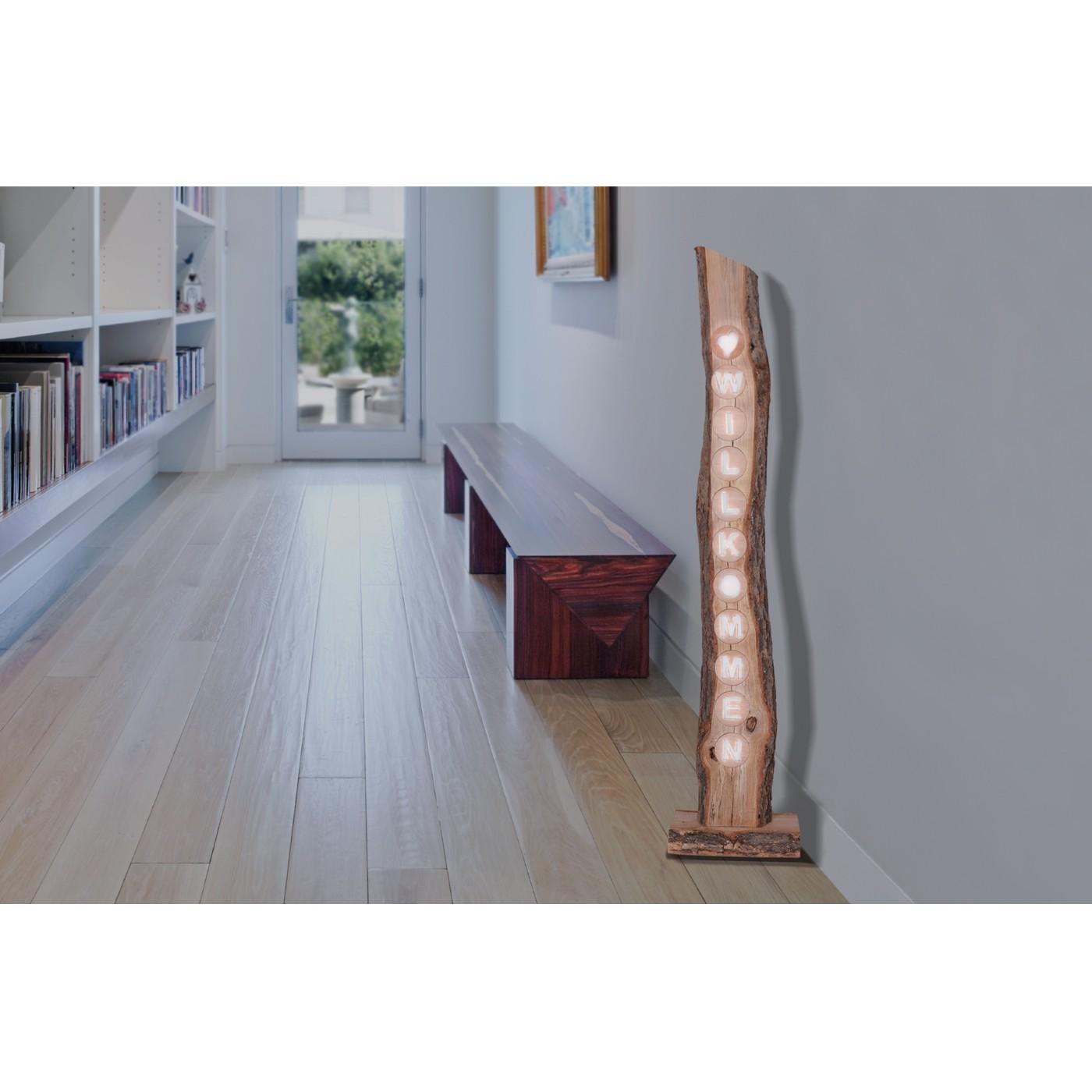 home24 LED-Dekoleuchte Willkommen | Lampen > Dekolampen | Braun | Massivholz | Naeve