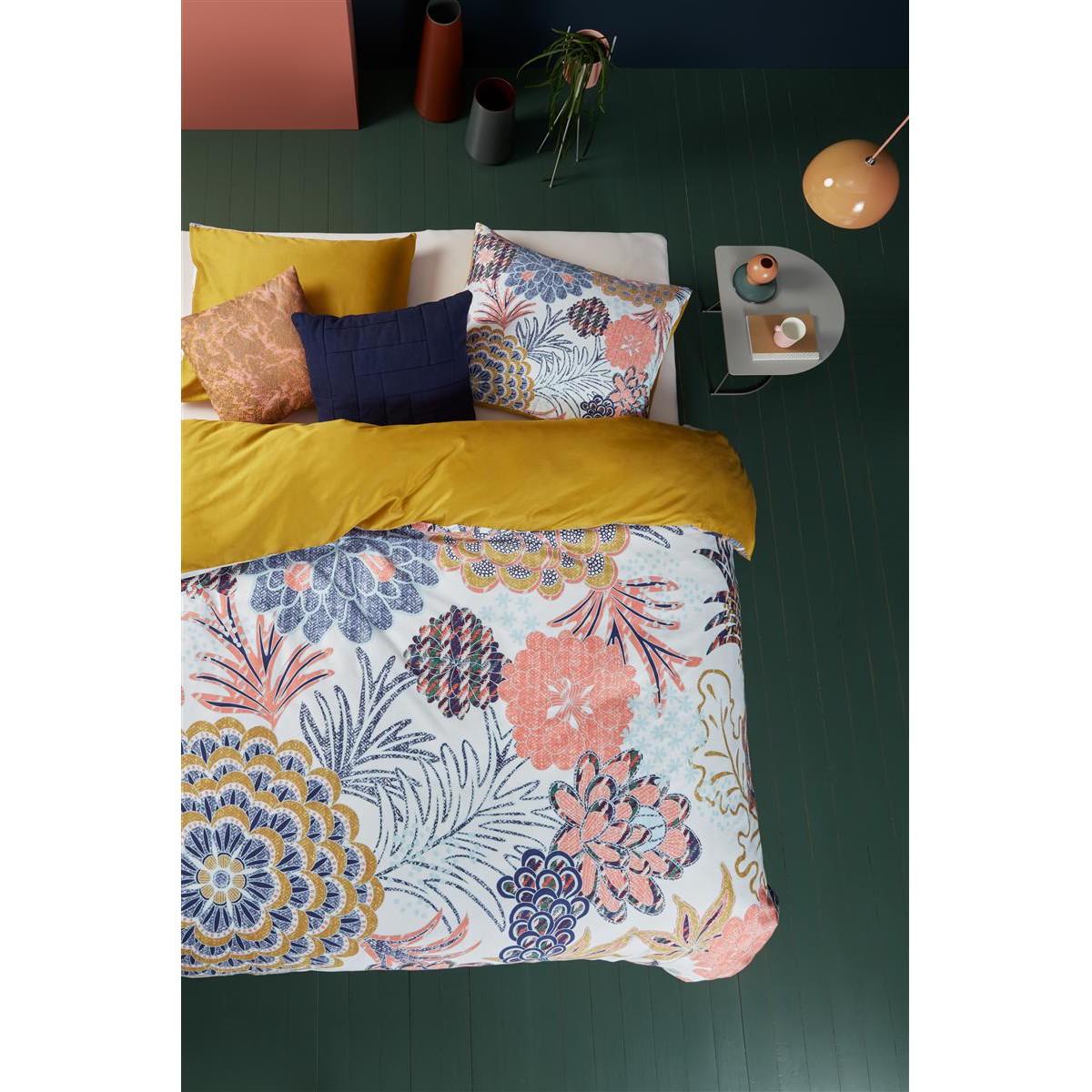 OILILY Mako-Satin-Bettwäsche Layered Bloom 155x220 cm (BxT) Baumwollstoff Mehrfarbig Gestreift