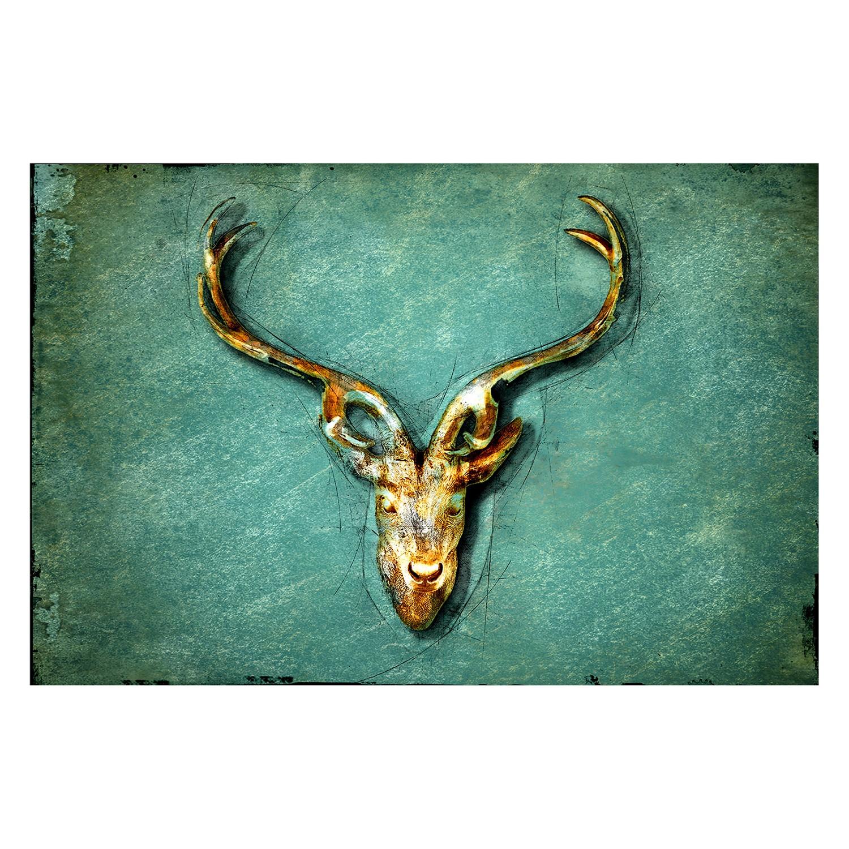 home24 Bild The Deer | Dekoration > Bilder und Rahmen | Blau | Textil - Massivholz | WandbilderXXL