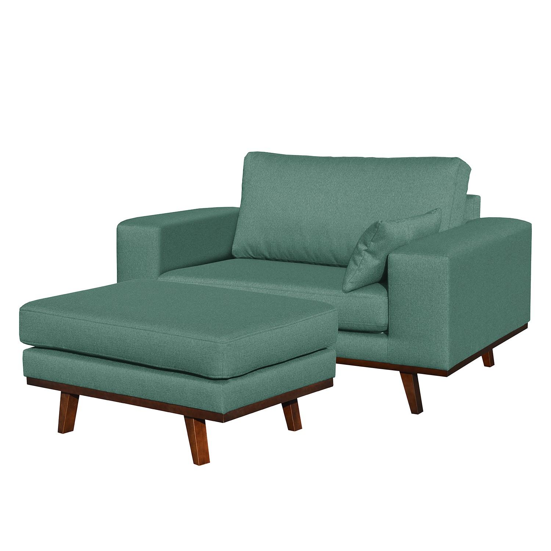 home24 Mørteens Sessel Billund II Mint Strukturstoff mit Hocker 122x84x94 cm (BxHxT)