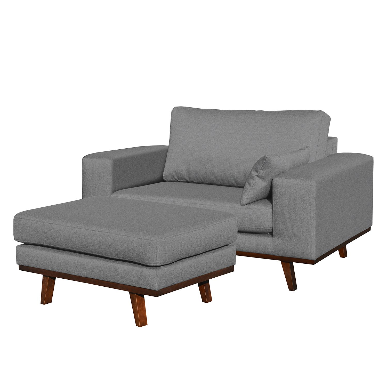home24 Mørteens Sessel Billund II Grau Strukturstoff mit Hocker 122x84x94 cm (BxHxT)
