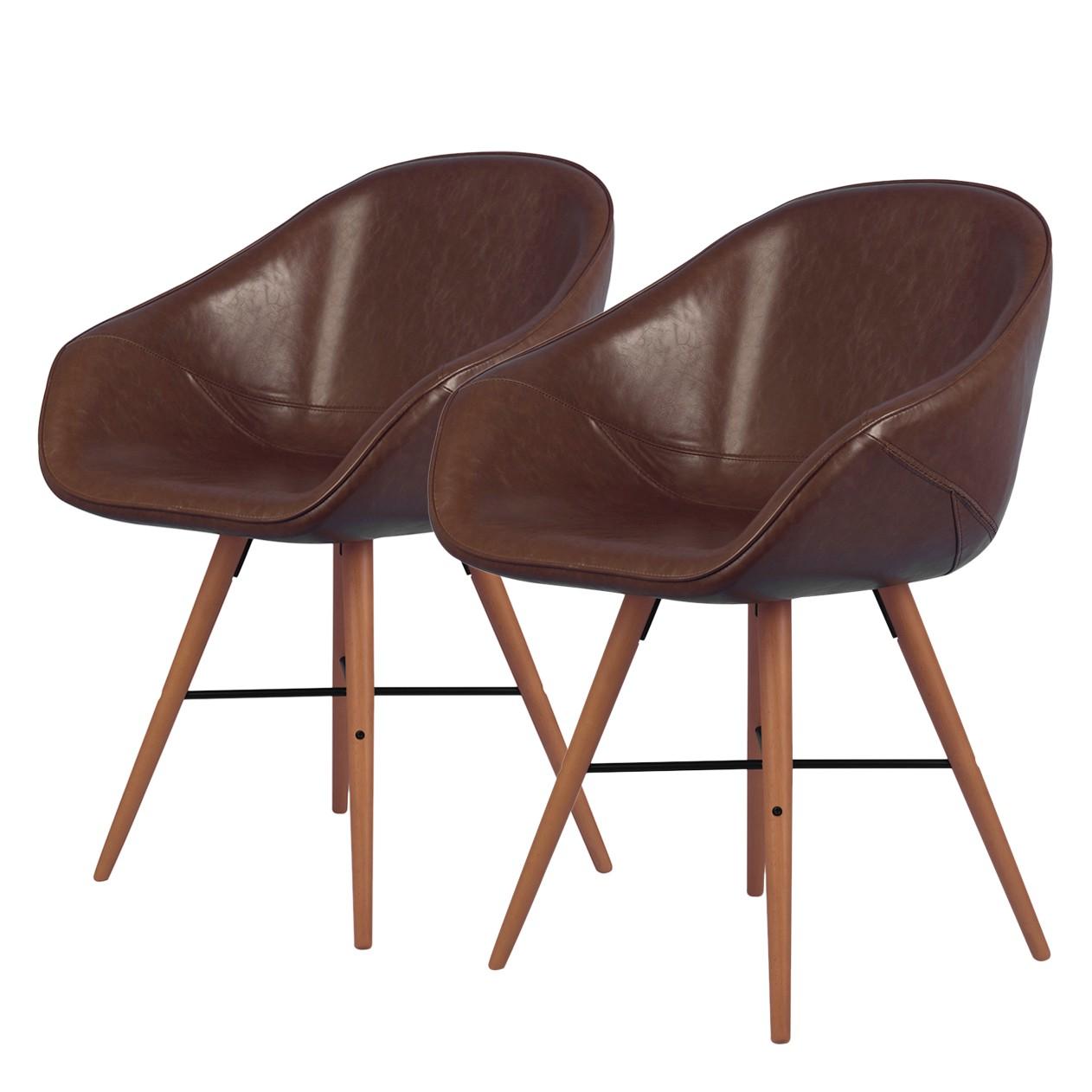 home24 Armlehnenstuhl reSTOL I (2er-Set) | Küche und Esszimmer > Stühle und Hocker > Armlehnstühle | Braun | Kunstleder | Studio Copenhagen