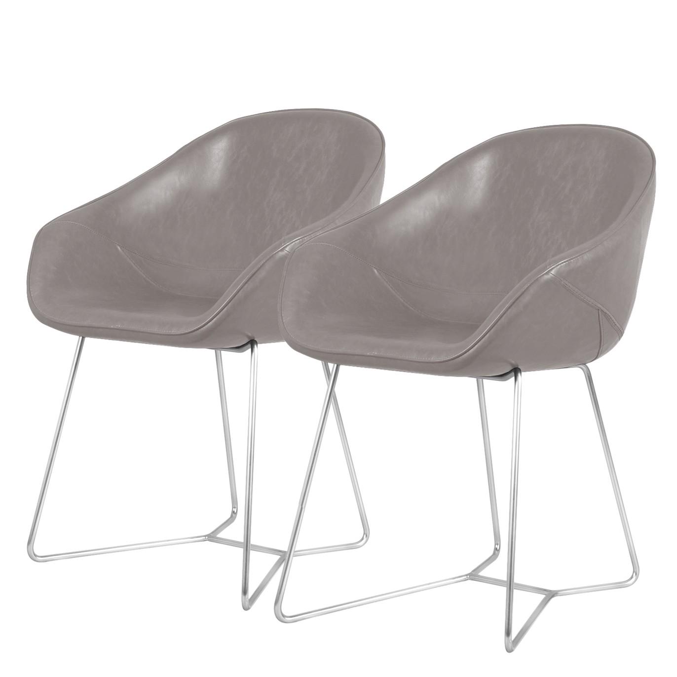 Armlehnenstuhl reSTOL II (2er-Set) | Küche und Esszimmer > Stühle und Hocker > Armlehnstühle | Grau | Kunstleder | Studio Copenhagen