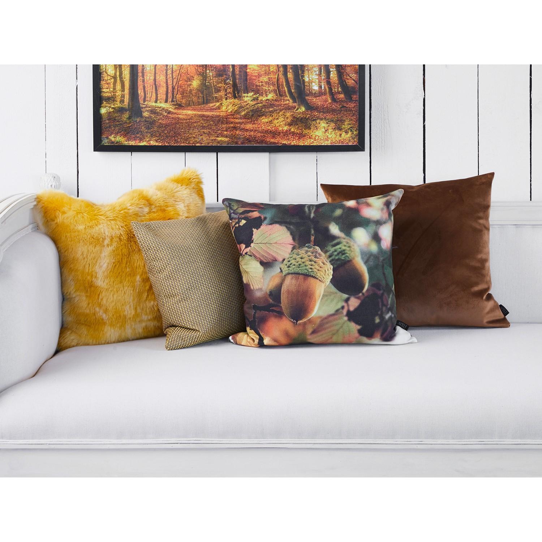 home24 Apelt Dekokissen Vias Gelb/Gold 45x45 cm (BxH) Tier Design Webstoff