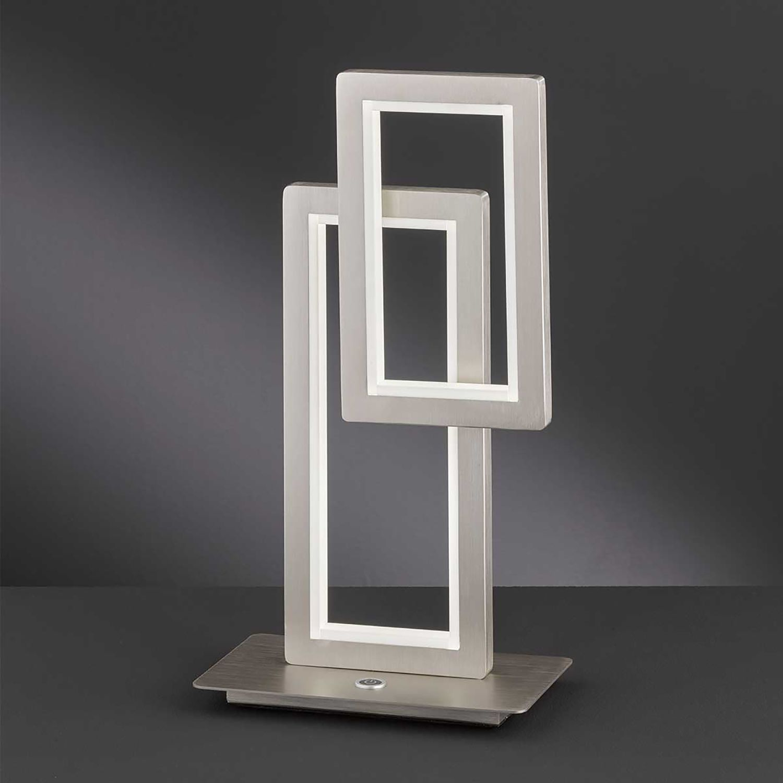 home24 Wofi LED-Tischleuchte Viso Silber Eisen Dimmbar 2-flammig 29W mit Touch-Schalter 15x46x30 cm (BxHxT)