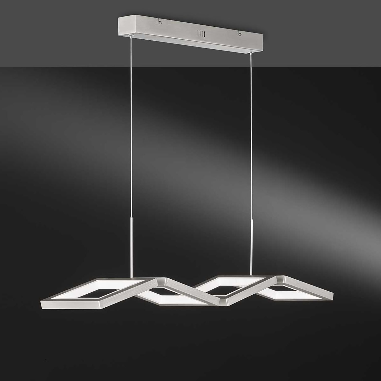 home24 Wofi LED-Pendelleuchte Viso IV Eisen Silber Dimmbar 20x150x89 cm (BxHxT) 4-flammig 55W inkl. Leuchtmittel
