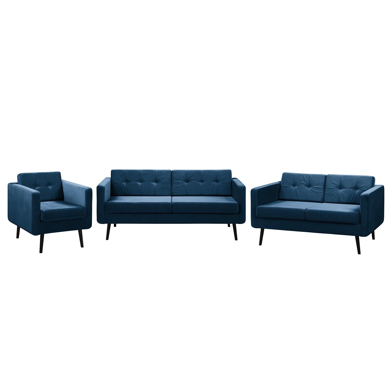 home24 Jack & Alice Polstergarnitur Croom V Marineblau Samt 184x86x84 cm | Wohnzimmer > Sofas & Couches > Garnituren