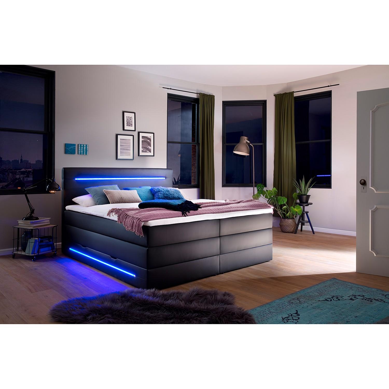 home24 meise.möbel Boxspringbett Lights 180x200 cm Kunstleder Schwarz mit Bettkästen/Beleuchtung/Matratze/Topper