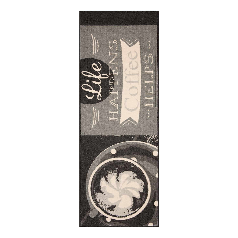 home24 Kuechenlaeufer Life happens Coffee helps | Heimtextilien > Teppiche > Läufer | Schwarz | Textil | Zala Living