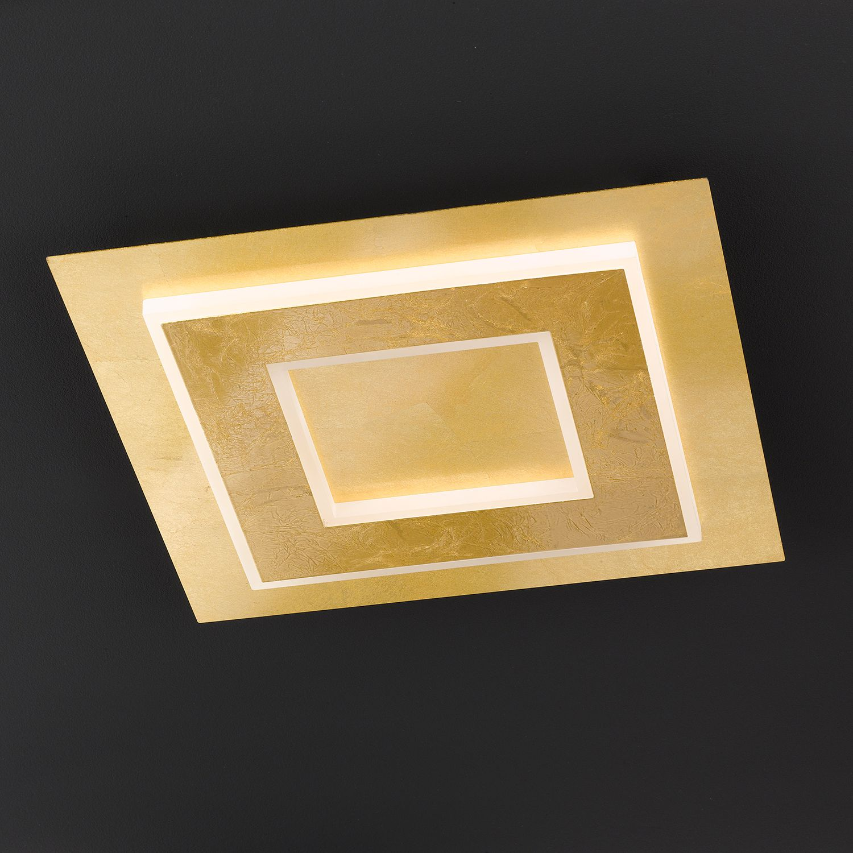 home24 Wofi LED-Deckenleuchte Granada I Modern Eisen Gold 45x7x45 cm (BxHxT) 1-flammig inkl. Leuchtmittel