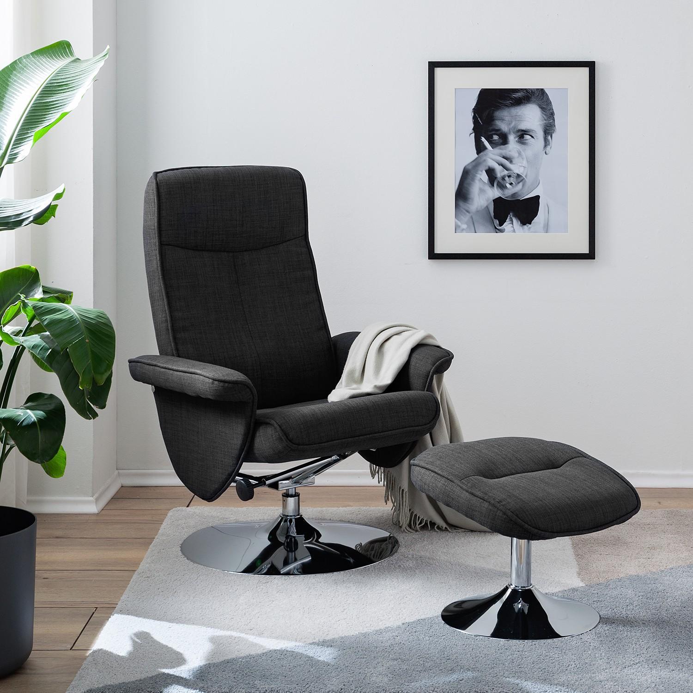 home24 loftscape Relaxsessel Selfors II Dunkelgrau Webstoff mit Hocker/Relaxfunktion 78x104x78 cm (BxHxT)
