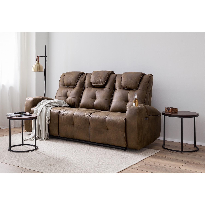 home24 loftscape Relaxsofa Kobrasol 3-Sitzer Nougat Microfaser 213x107x98 cm (BxHxT) Modern