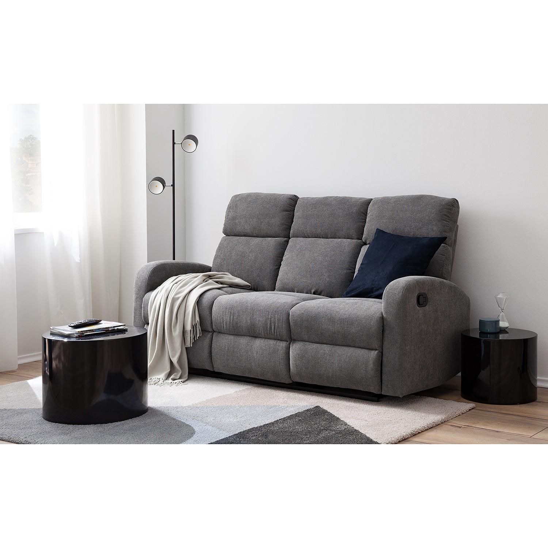 home24 loftscape Relaxsofa Grandhan 3-Sitzer Grau Microfaser 181x102x88 cm (BxHxT) Modern