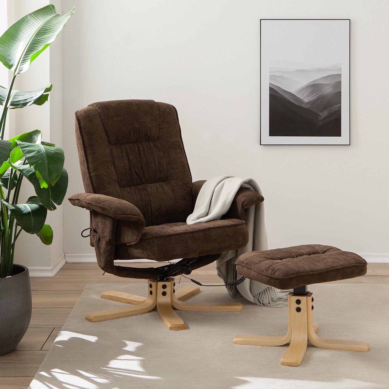 home24 loftscape Relaxsessel Wesburn I Dunkelbraun Microfaser mit Hocker/Relaxfunktion/Massagefunktion 79x96x73 cm (BxHxT)