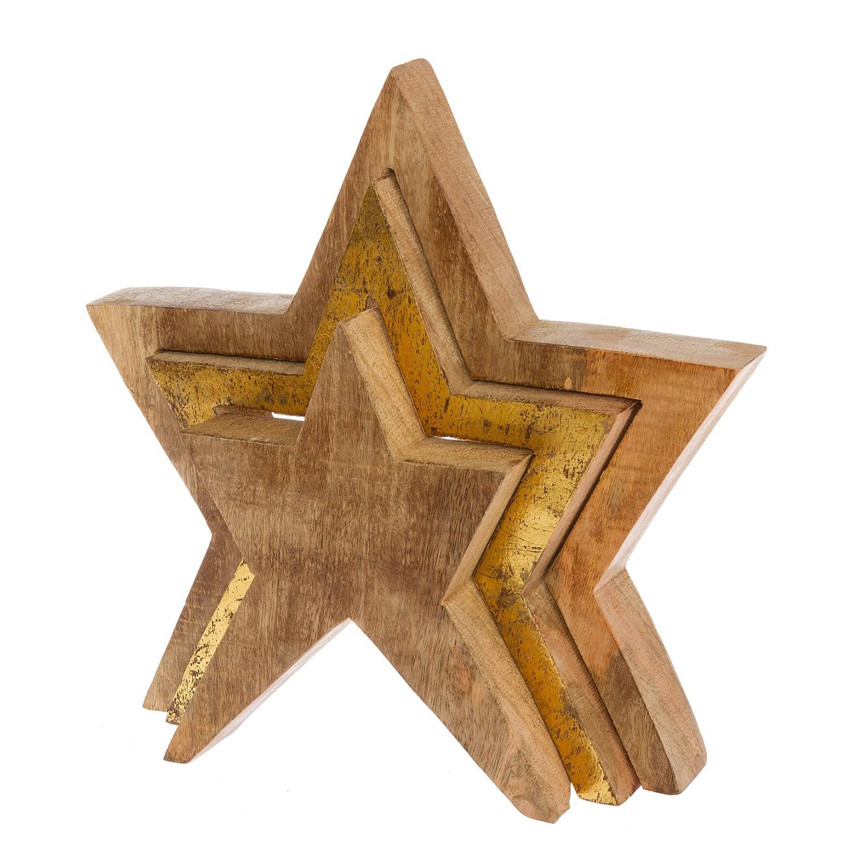 home24 Dekofigur Holzstern | Dekoration > Figuren und Skulpturen | Gold | Holz | My Flair