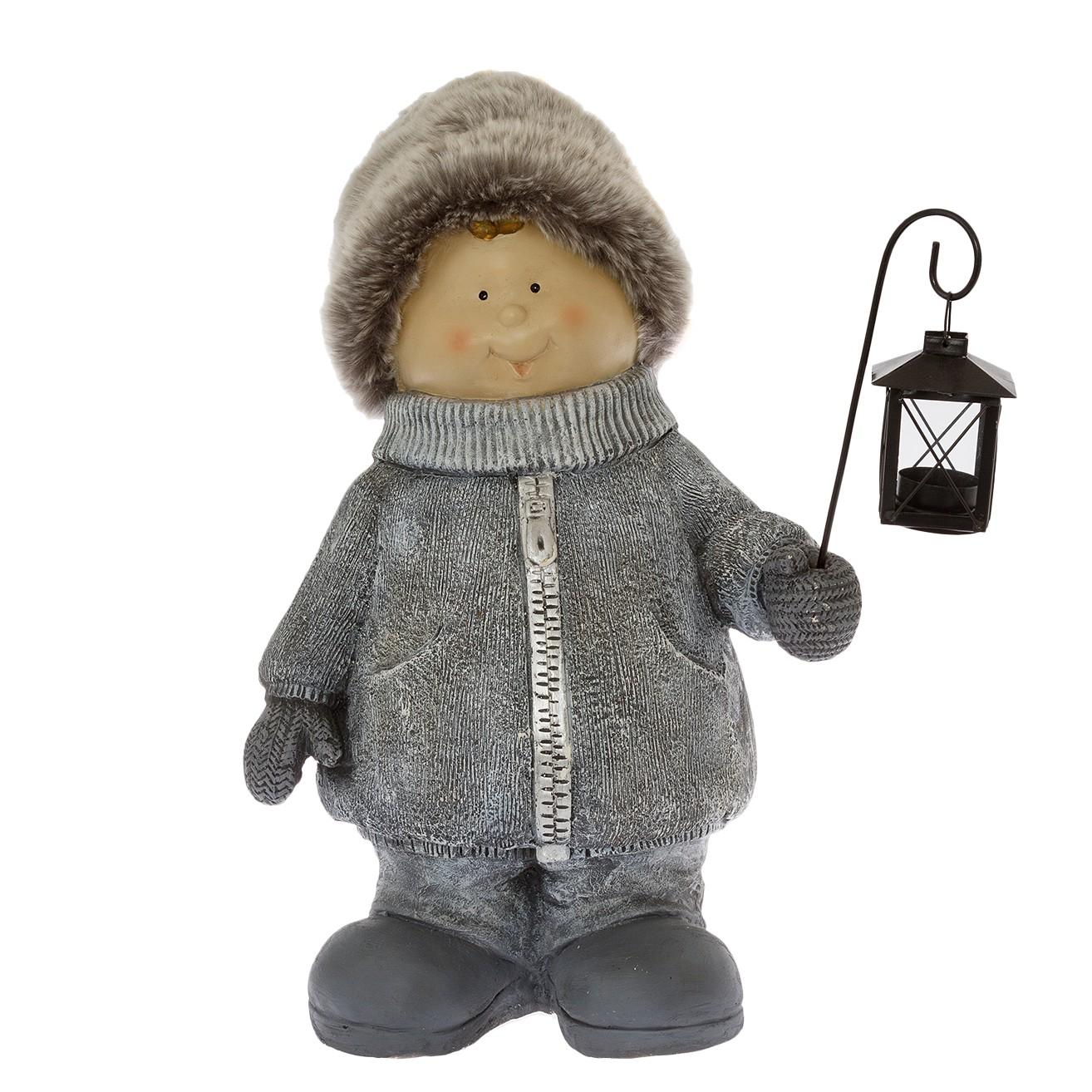 home24 Dekofigur Winterkind Junge | Dekoration > Figuren und Skulpturen | Grau | Kunststoff | My Flair