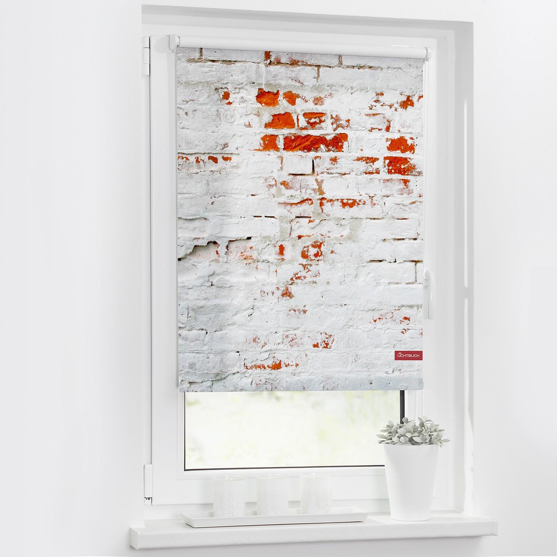 Lichtblick Rollo Mauer 45x150 cm (BxH) Weiß/Rot Webstoff, Lichtblick