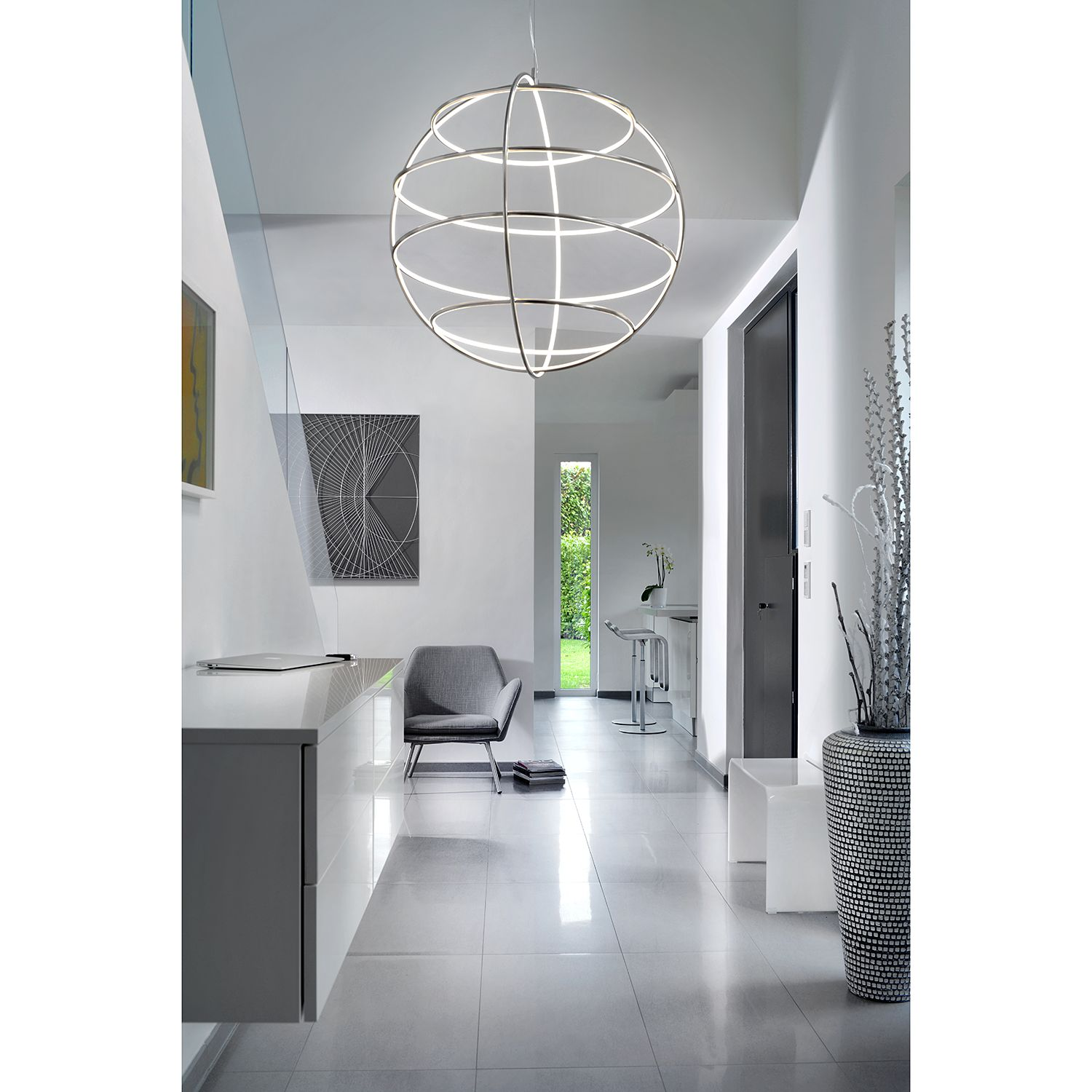 home24 LED-Pendelleuchte Globe
