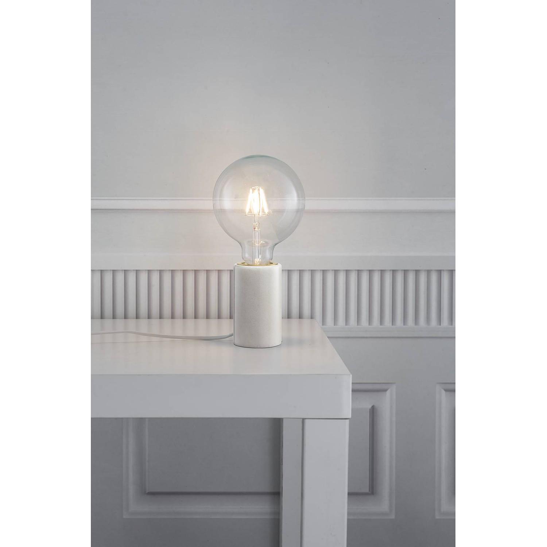home24 Nordlux Tischleuchte Siv II Modern Weiß Marmor 1-flammig E27 6x10x6 cm (BxHxT)