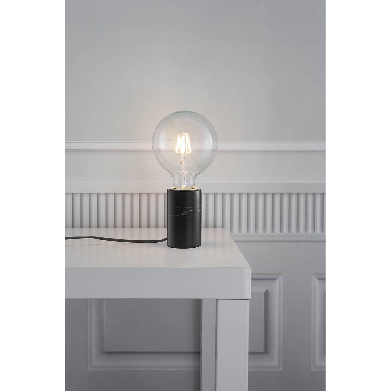 home24 Nordlux Tischleuchte Siv II Modern Schwarz Marmor 1-flammig E27 6x10x6 cm (BxHxT)