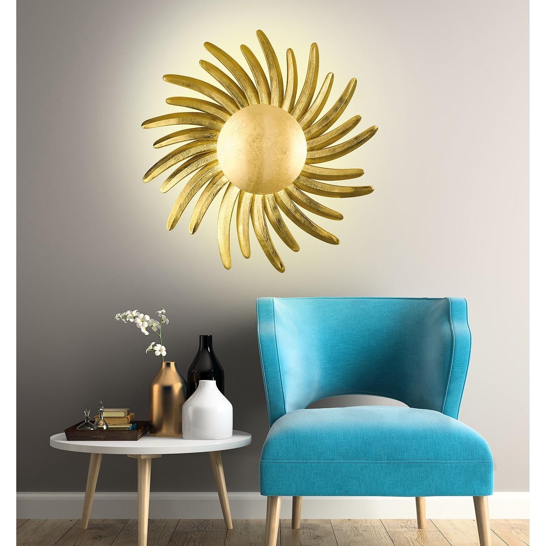 home24 Fischer & Honsel LED-Wandleuchte Bordeaux Modern Gold Eisen 1-flammig 60x60x60 cm (BxHxT) inkl. Leuchtmittel